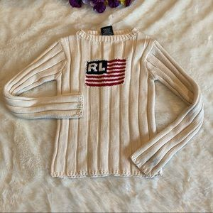 Polo Jean RL Cream Knit American Flag Sweater Sz S